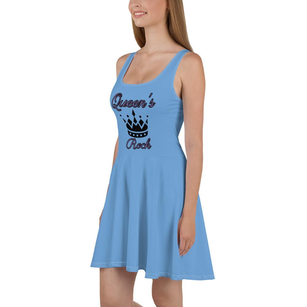 Light Blue Qeeun's Rock Skater Dress
