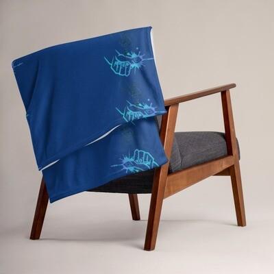 Royal Blue Kj&m Throw Blanket