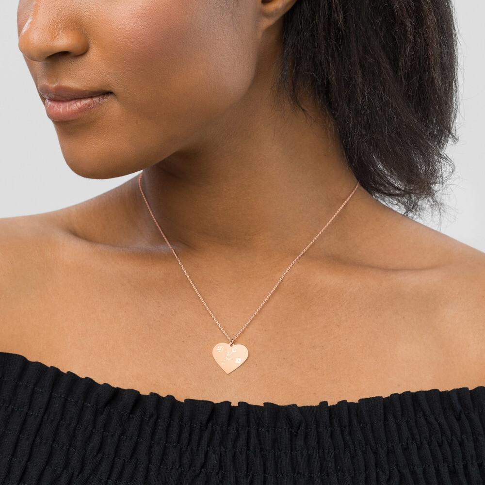 4 U Rose Engraved Silver Heart Necklace