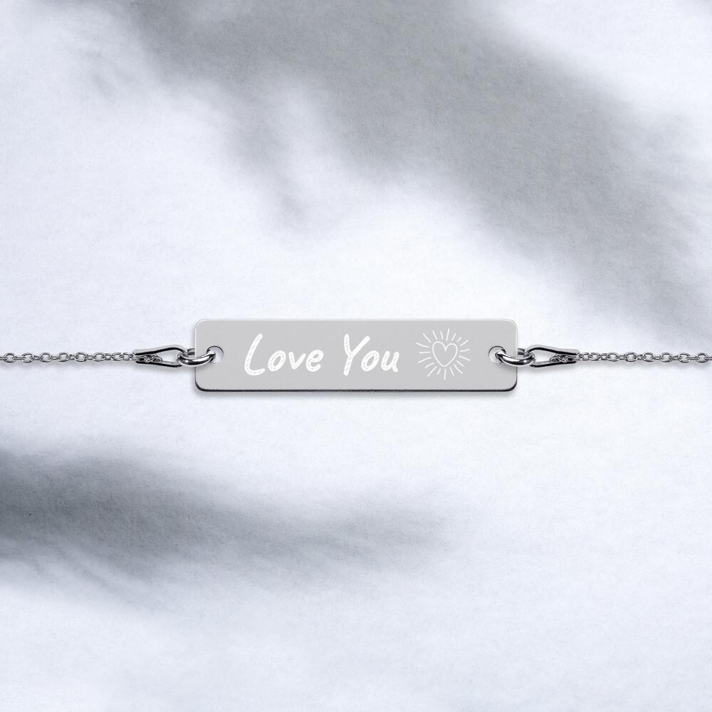 Love Engraved Silver Bar Chain Bracelet