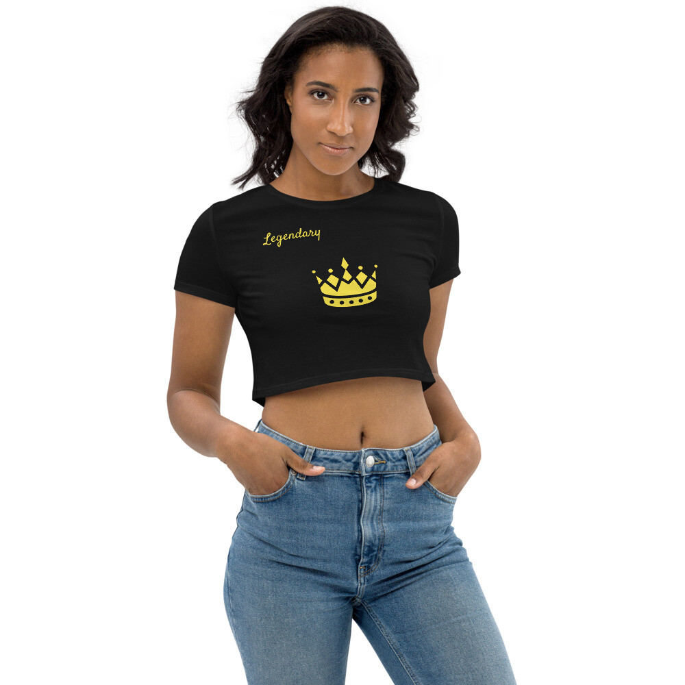 Black With Gold Crown Legendary Crop Top