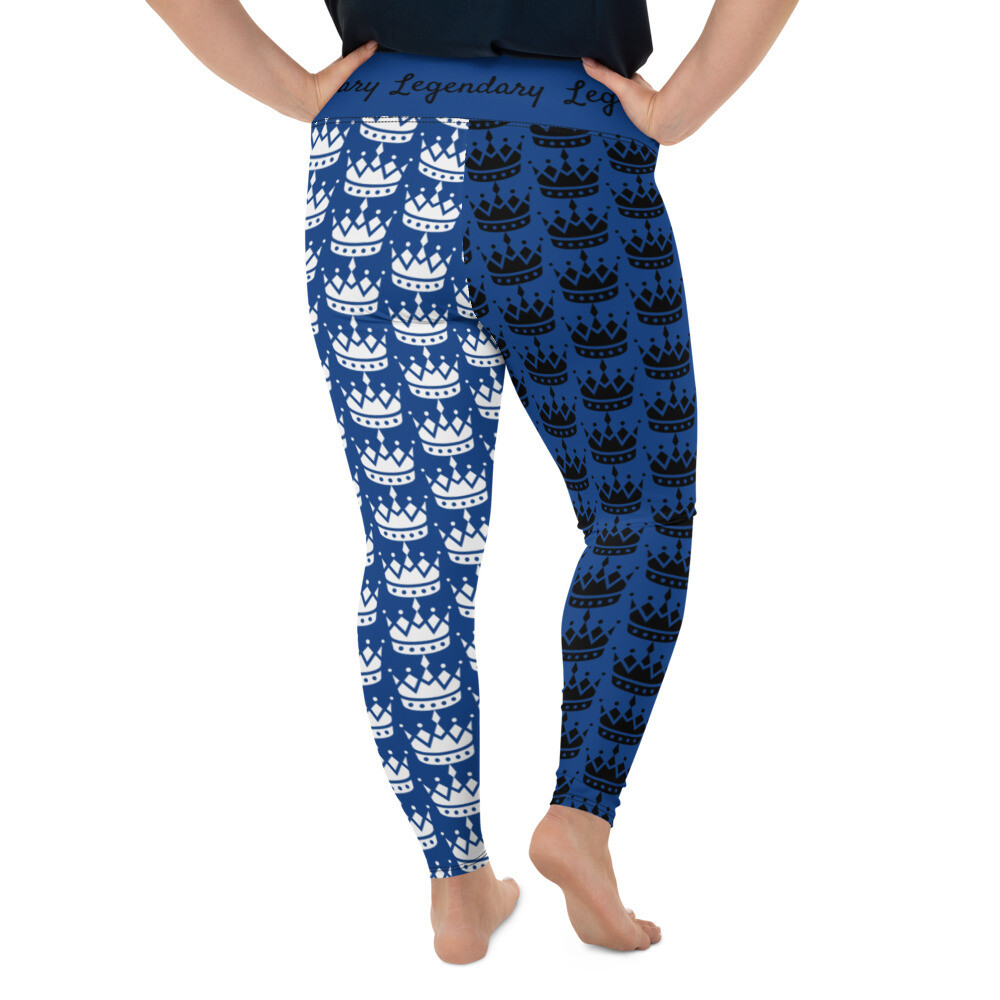 Two-Toned Royal Blue All-Over Print Plus Size Leggings