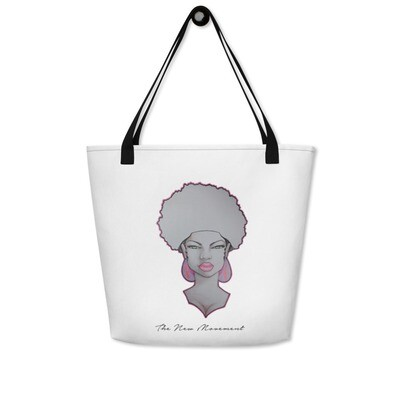 White Queen  Black handles Anytime Bag