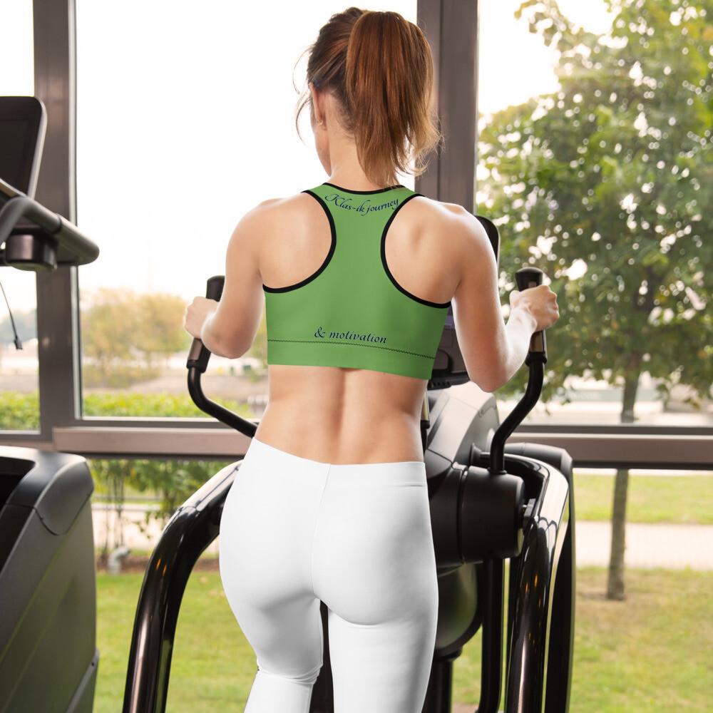 Green all over print Kj&m Sports bra