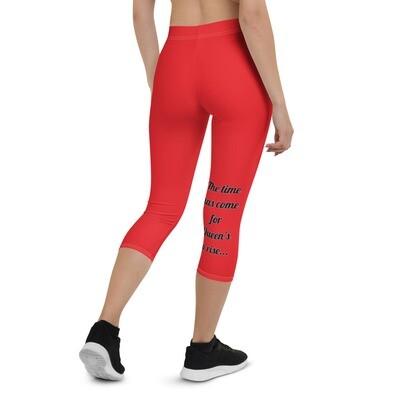 Rise Queen Red Capri Leggings