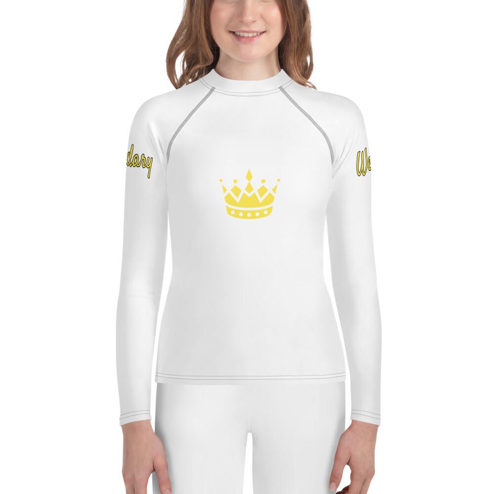 Girl's White WRL Rash Guard Shirt