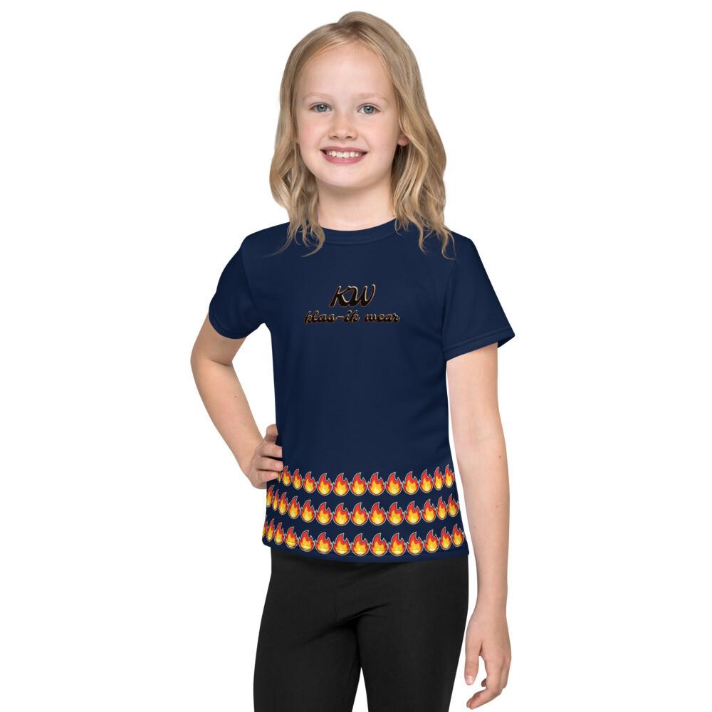 Navy Kids Fammable crew neck t-shirt
