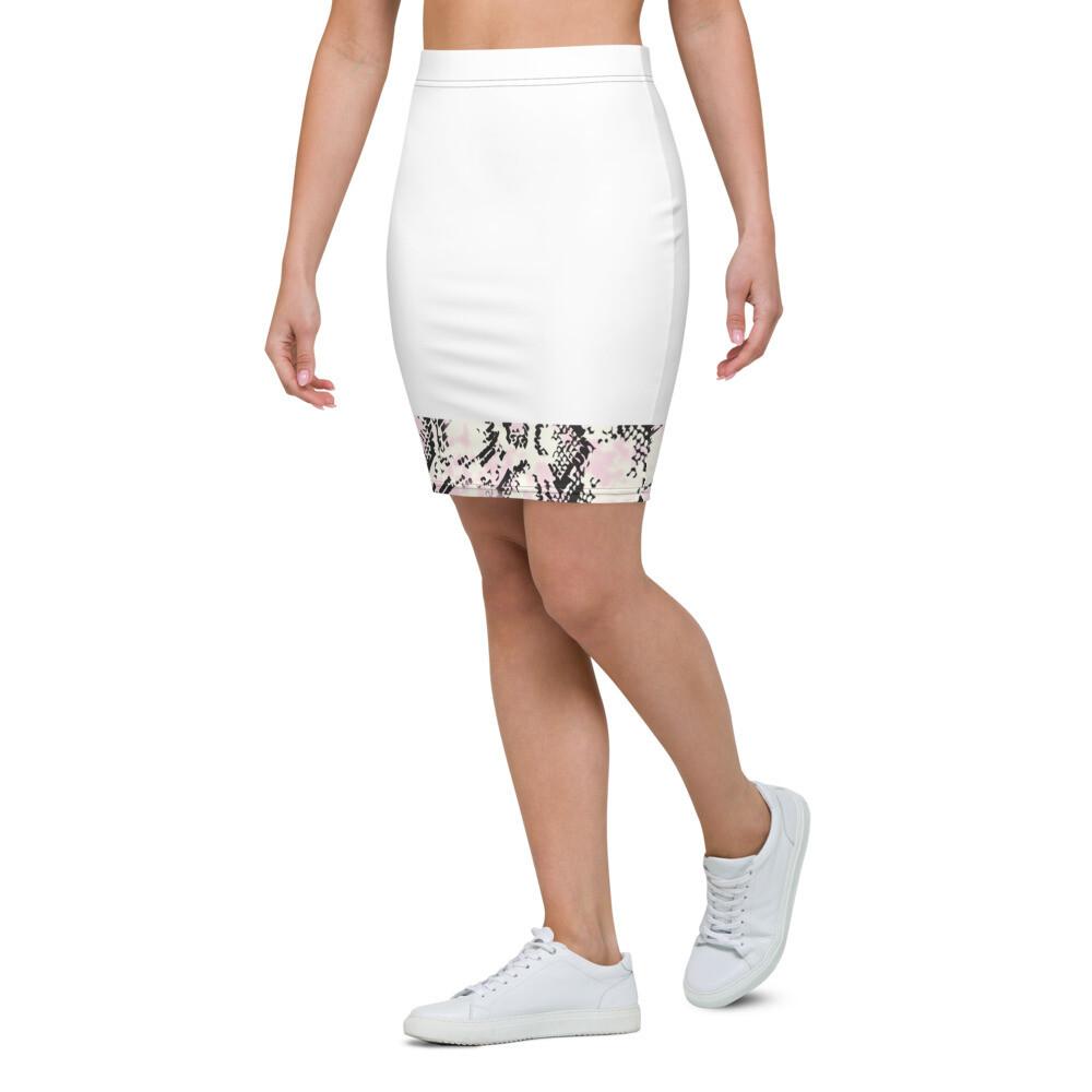 White Snake Skin Print Pencil Skirt