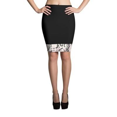 Black Snake Skin Print Pencil Skirt