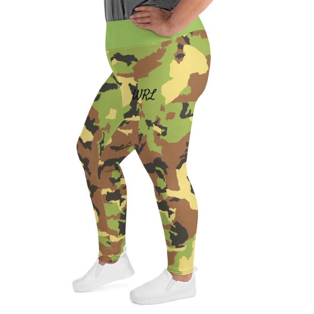 WRL Green Camo Print Plus Size Leggings