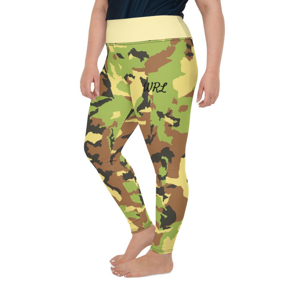 Camo Print Yellow Waist Plus Size Leggings
