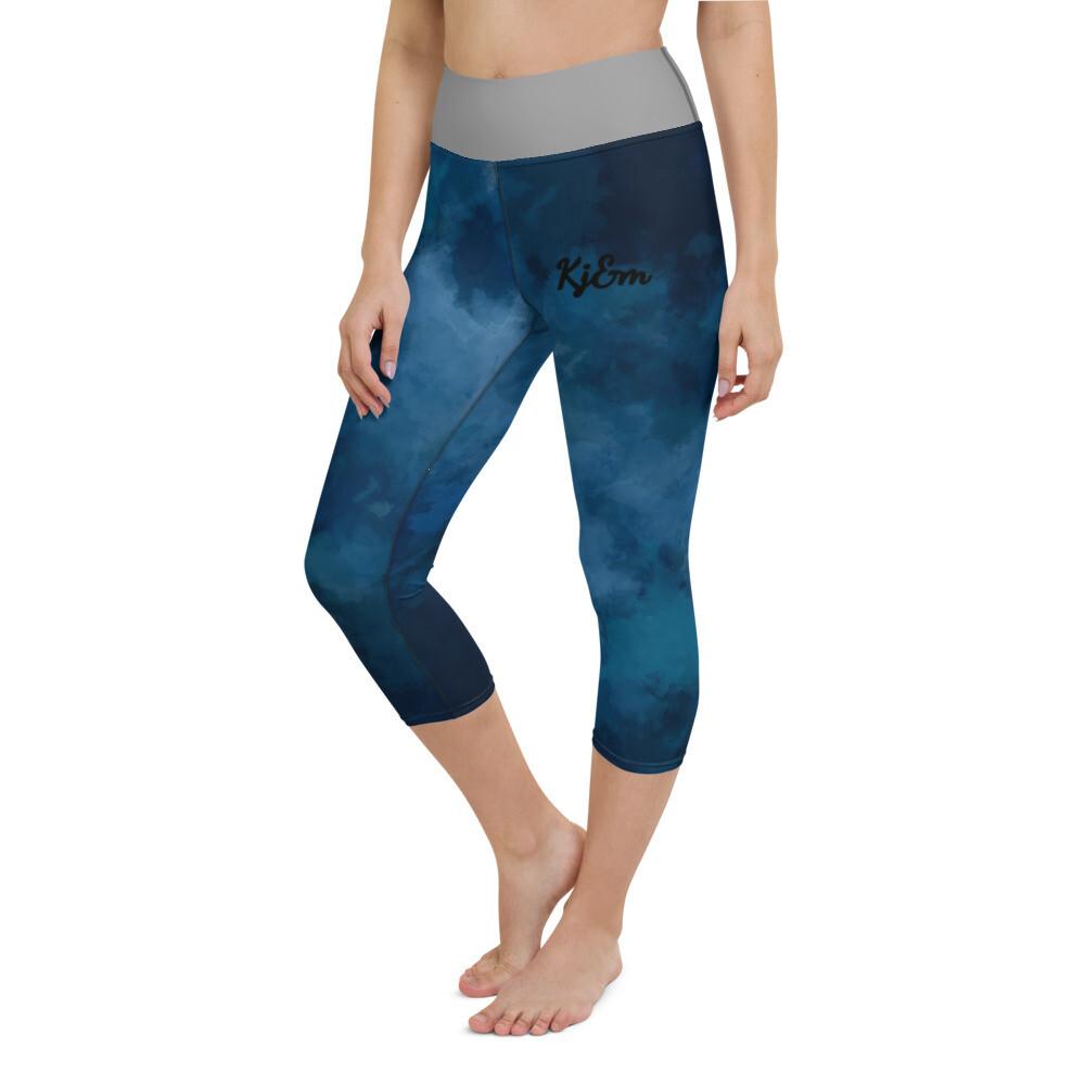 Water Blue Kj&m Yoga Capri Leggings