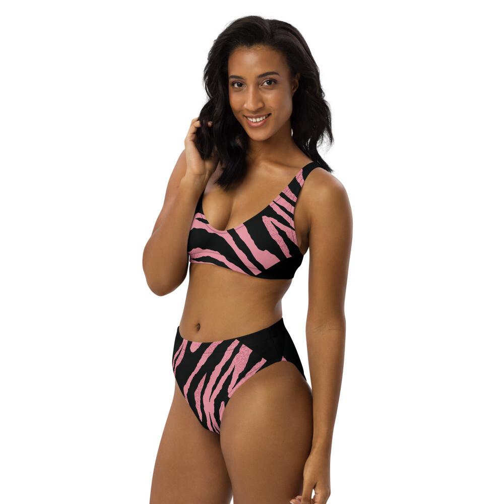 Pink And Black Zebra Print high-waisted bikini