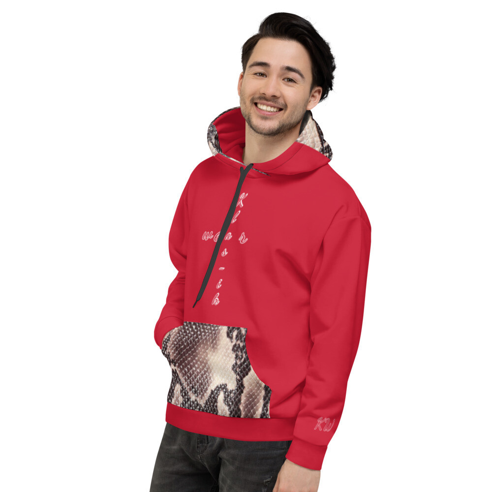 Red With Snake Skin Print Klas-ik Wear Hoodie