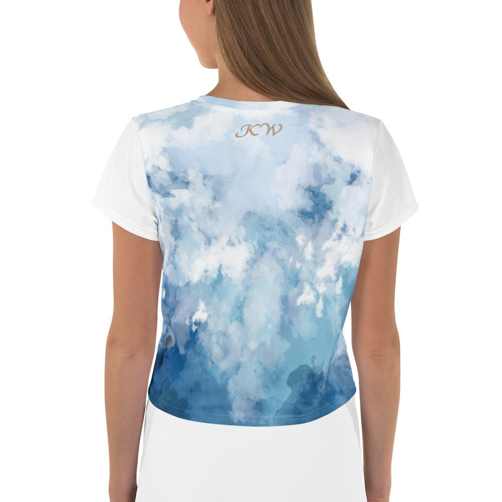 Women's White Sleeve Denim Print KW Crop Tee