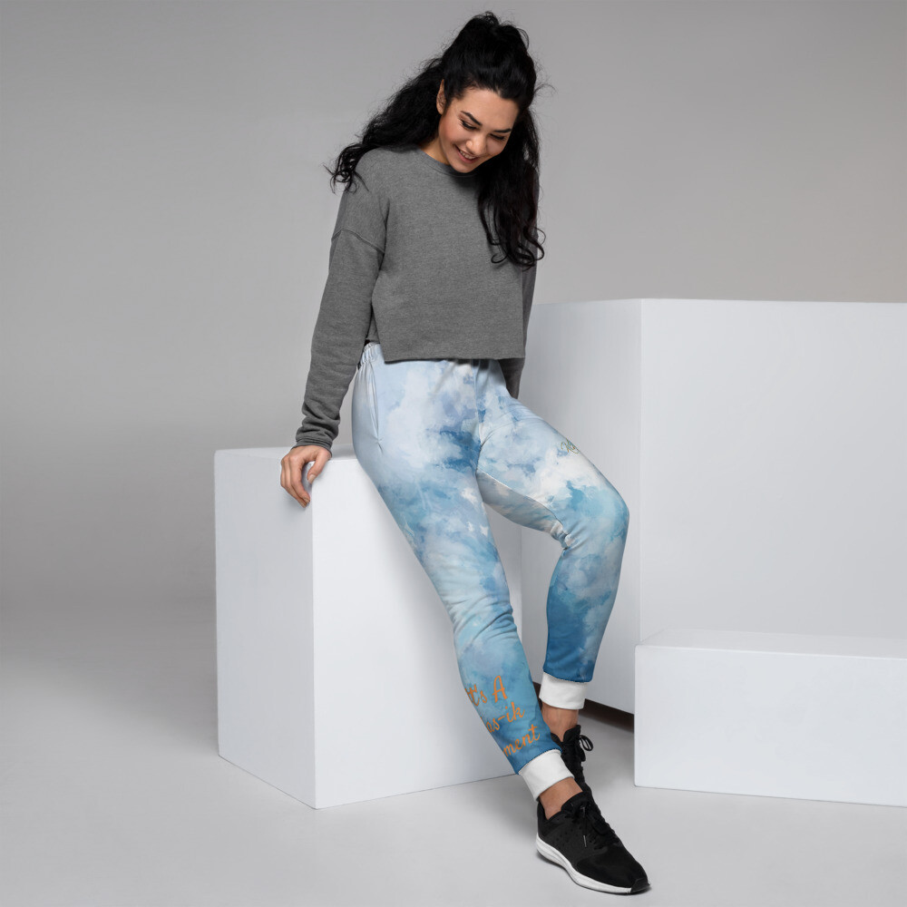 Women's White Ankle Band Denim Joggers