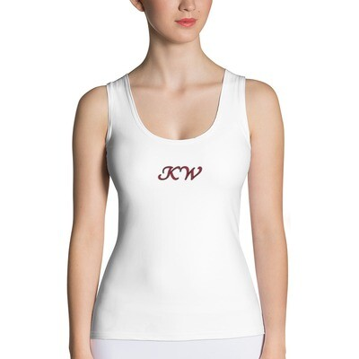 White KW Fitted Tank Top