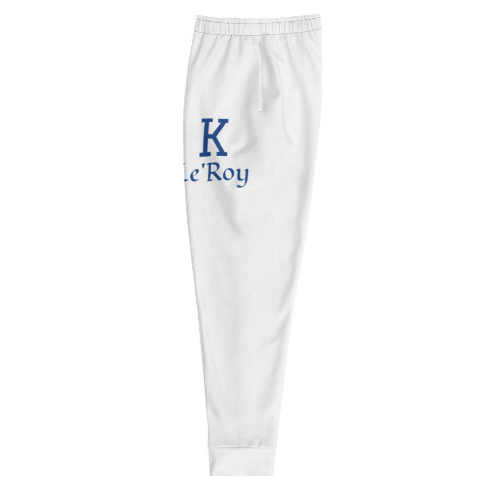 Young Men's K Le'Roy White/Blue lettering Joggers