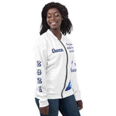 Blue Chess Piece Queen Bomber Jacket