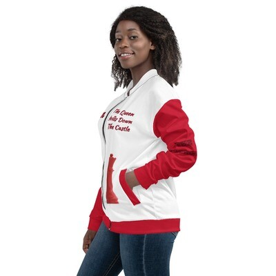 Red Chess Piece With Queen Bomber Jacket