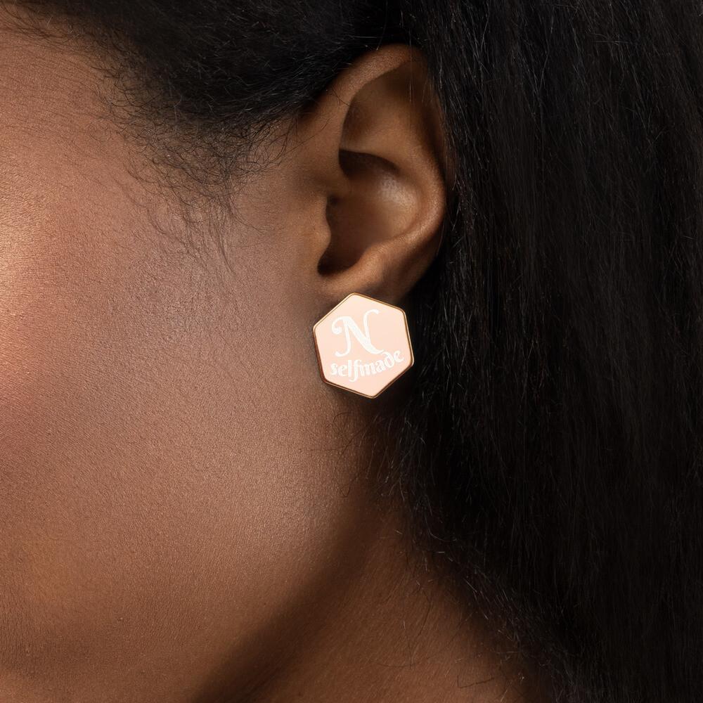 Norraye Selmade Sterling Silver Hexagon Stud Earrings