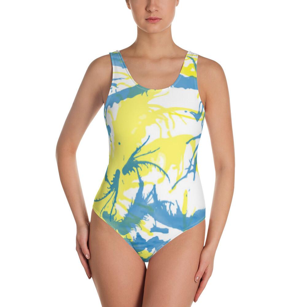 Spring Print Kj&m One-Piece Swimsuit