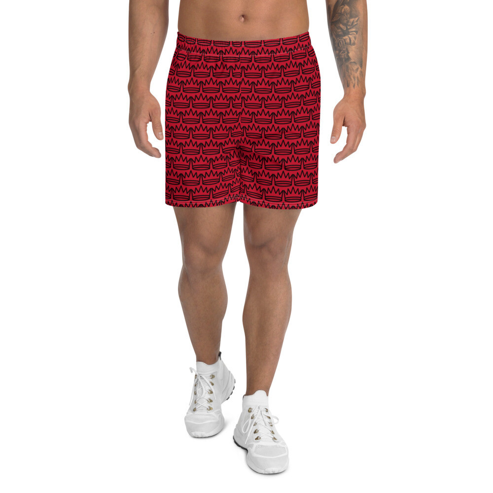 Men's Red With Black King Crown Shorts