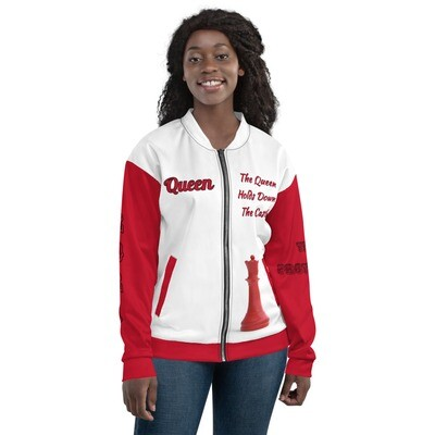 Queen Red And White Chess Piece Bomber Jacket