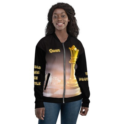 Black And Gold Queen Chess Piece Bomber Jacket