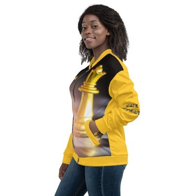 Gold And Black Queen Chess Piece Bomber Jacket