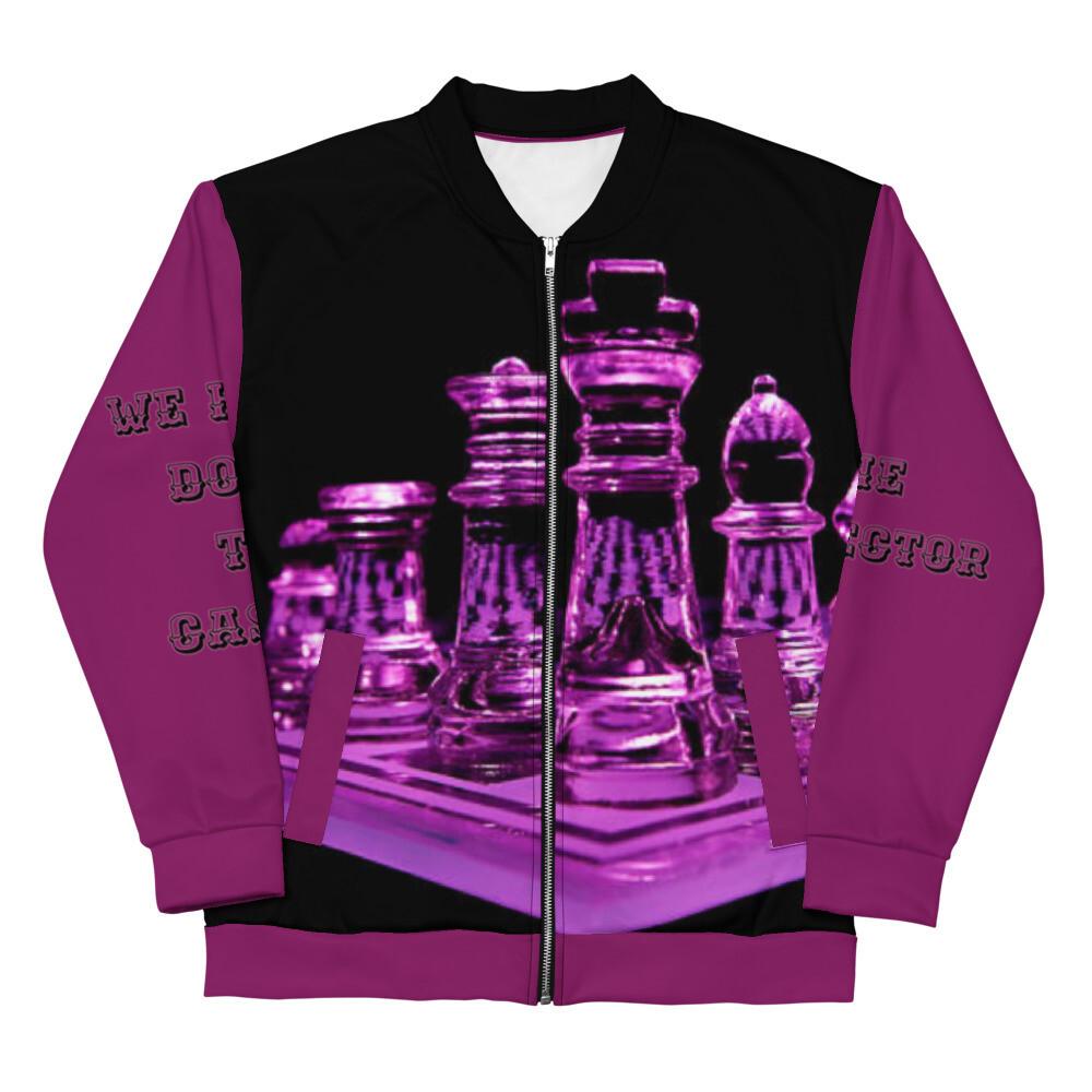 Queen Purple Chess Board Bomber Jacket