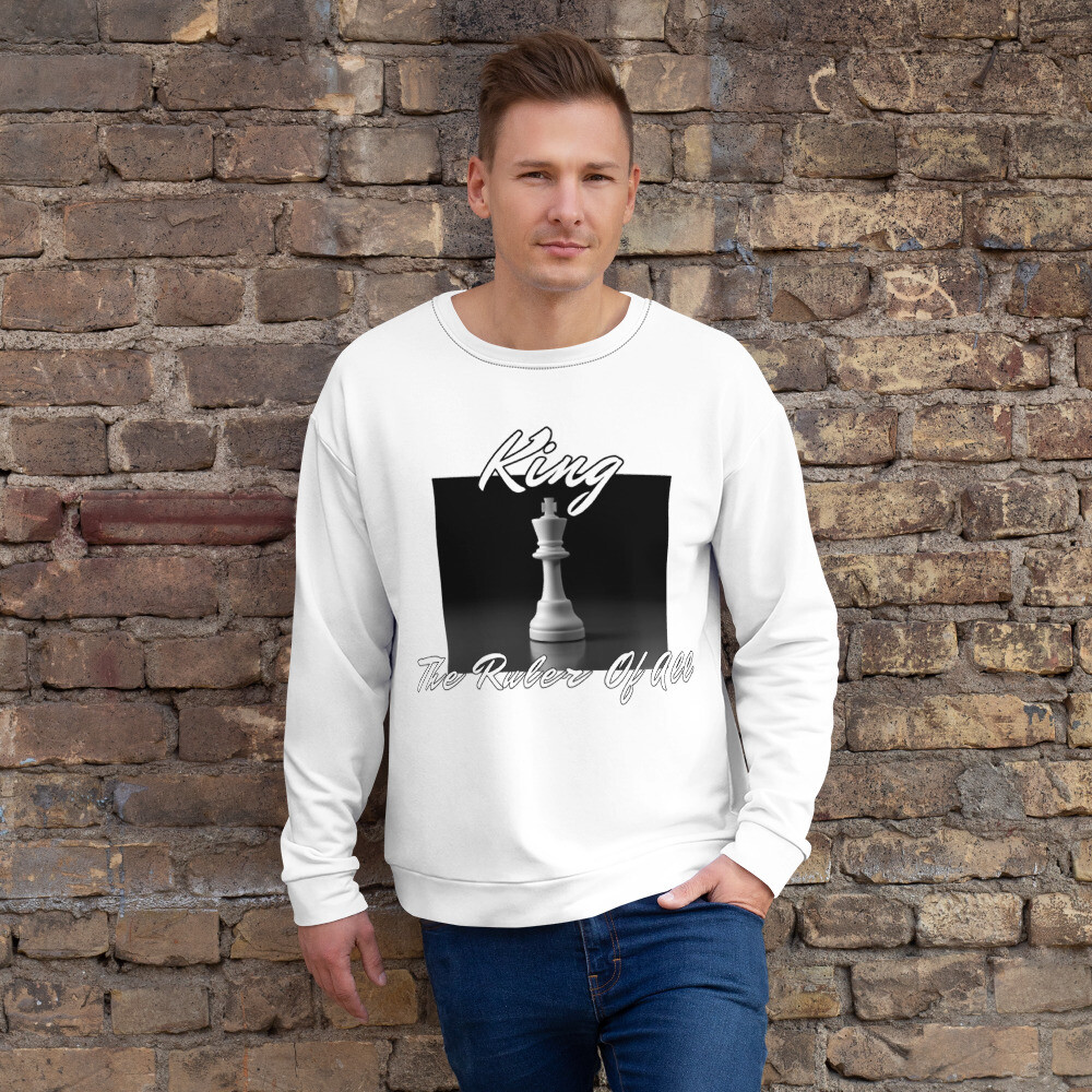 Men's White King Chess Piece Sweatshirt