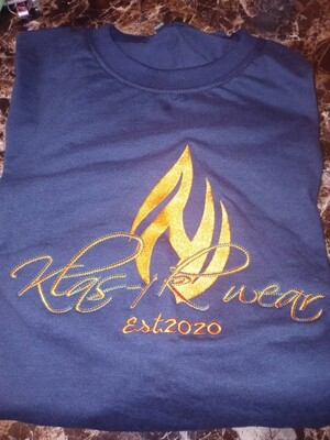 Navy Embroidered KW Tee
