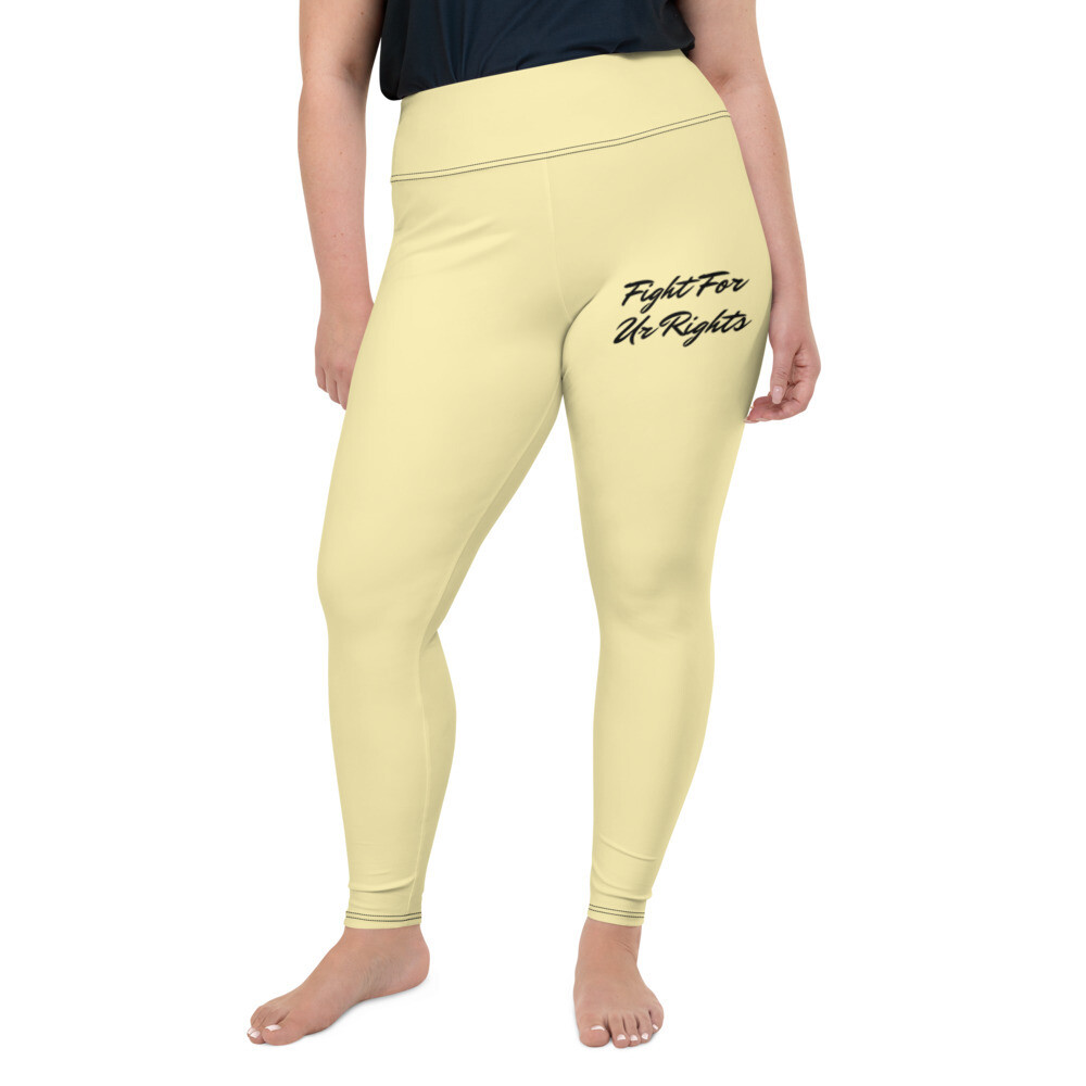 Yellow WRL Slogan Plus Size Leggings