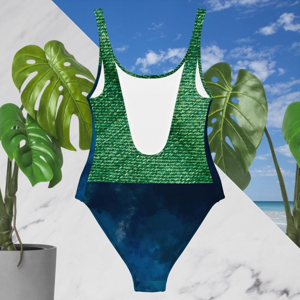 New One-Piece  Denim Blue And Green Swimsuit