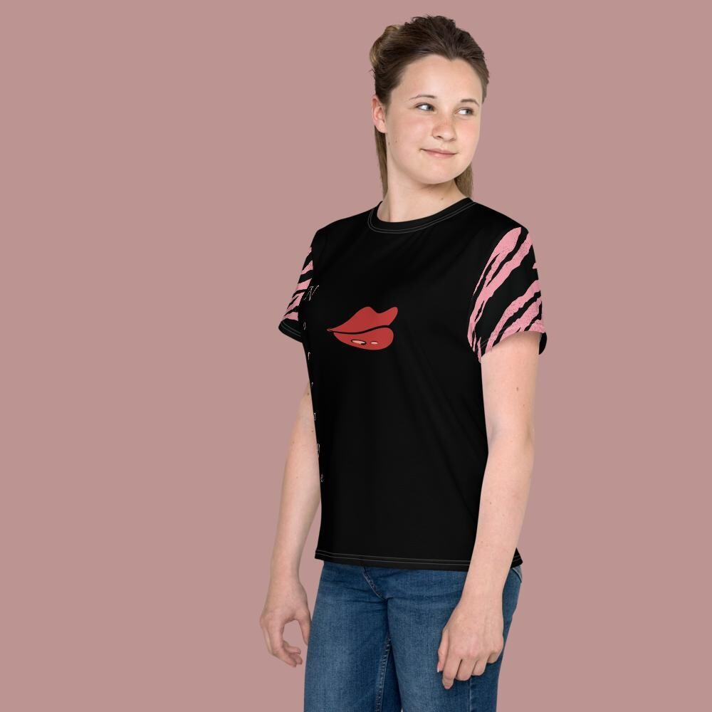Norraye Black Zebra Striped Arm Crew Neck T-shirt