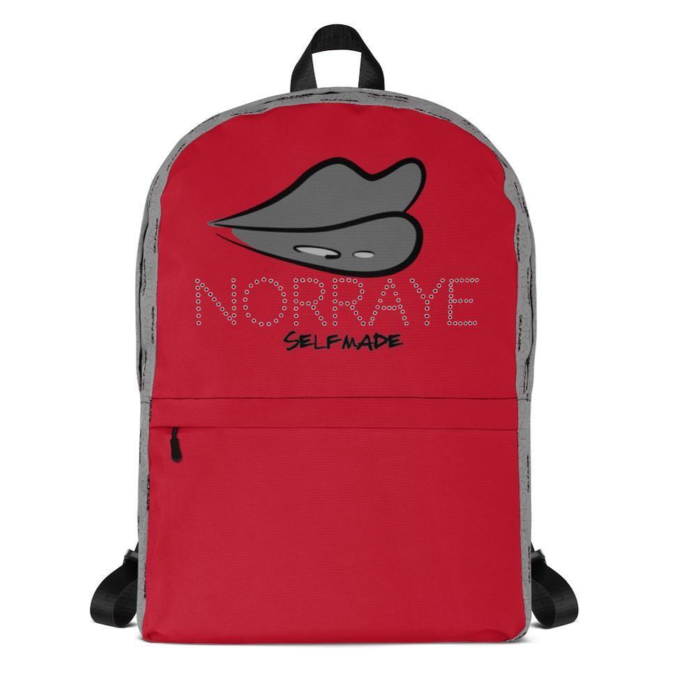 Gray & Red Printed Norraye Girl's Backpack