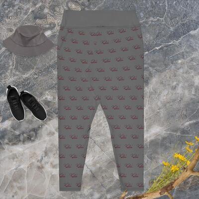 KW Printed Grey Plus Size Women's Leggings