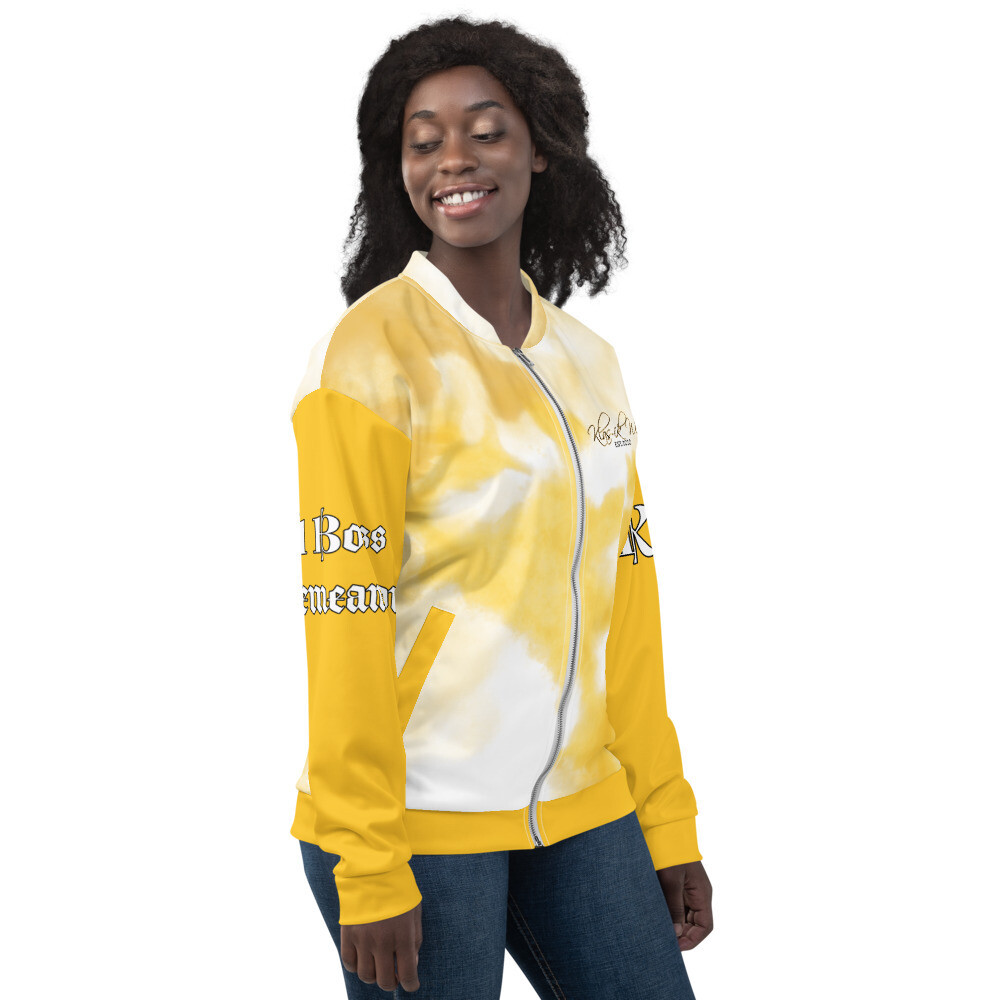 Yellow Women Water Color KW Bomber Jacket