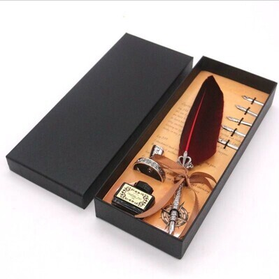 Elegant, Deep Red Feather Dip Pen Set (Prophetic Scribes)