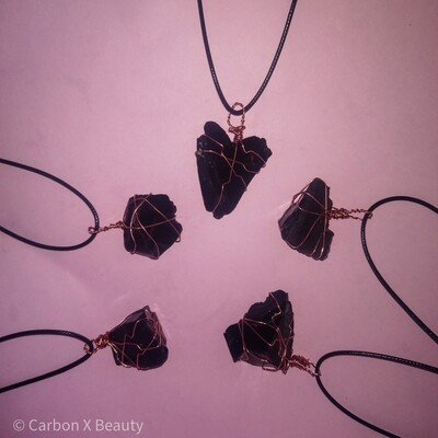 Black Tourmaline and copper Reiki healing pendant