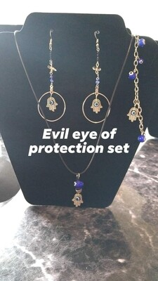 Silver Plated Evil Eye of protection set