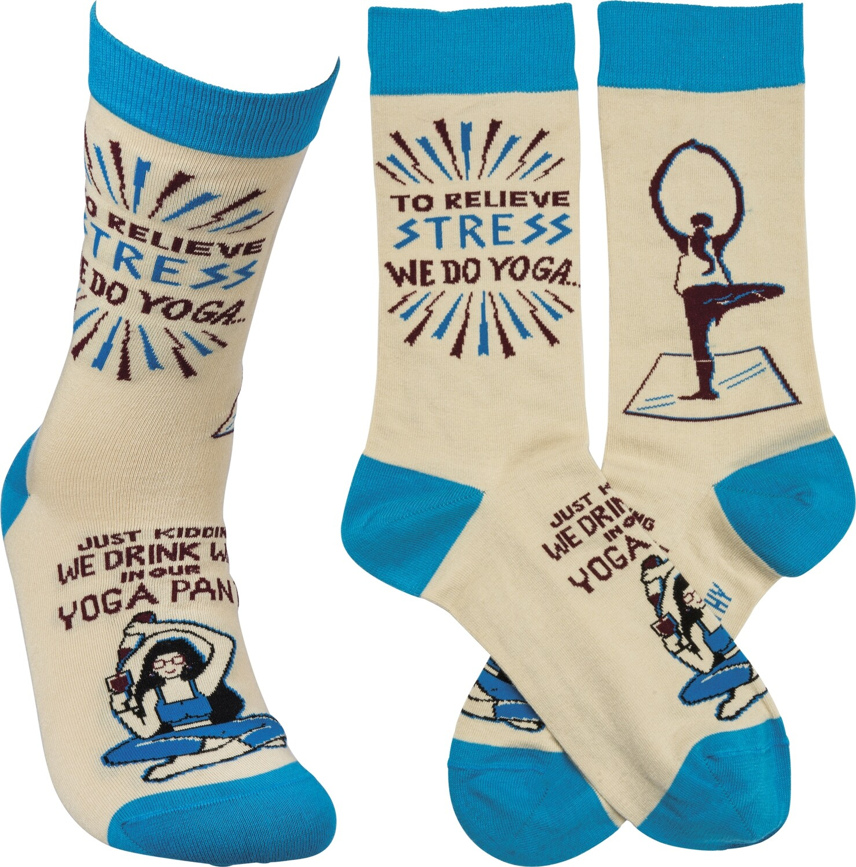 Drink Wine In Our Yoga Pants Socks