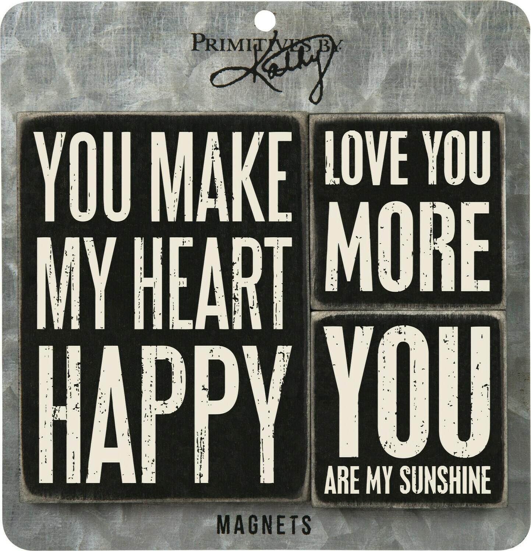 Memo Holder Magnet Set - You Make My Heart Happy