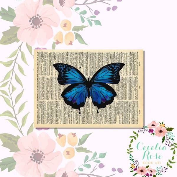 Indigo Butterfly Book Art