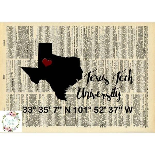 Texas Tech Book Art Print