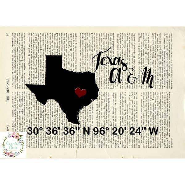 Texas A&M Book Art Print