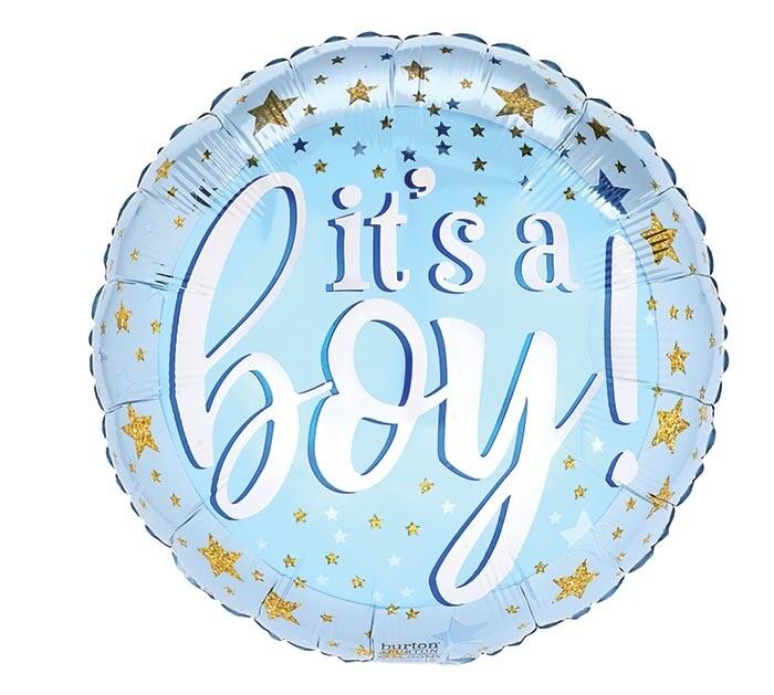It's A Boy Gold Stars Balloon