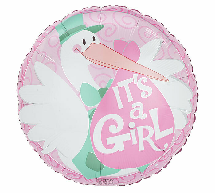It's A Girl Stork Balloon