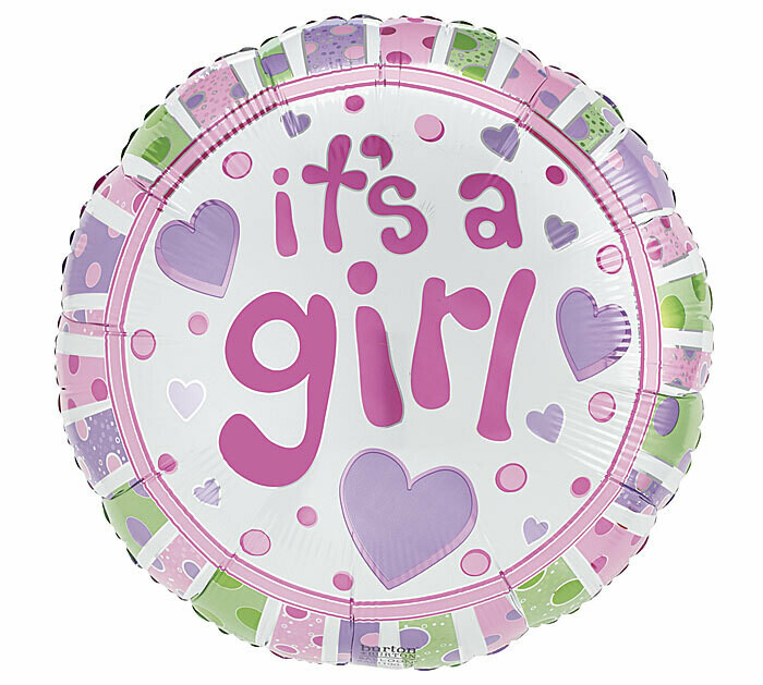 It's A Girl Stars & Dots Balloon